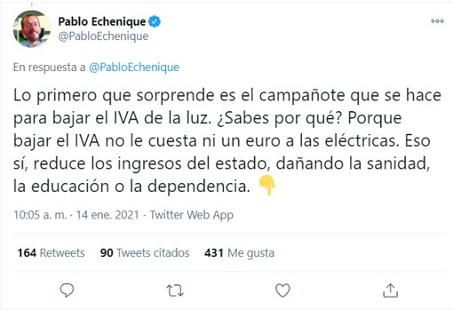 The spokesperson for United We Can in Congress against the lowering of VAT on electricity in January 2021
