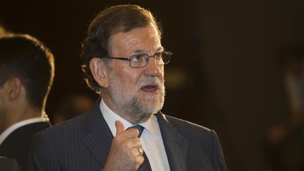 Mariano Rajoy durante una conferencia en Barcelona