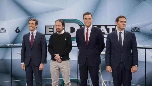 Los cuatro candidatos antes del debate de ayer
