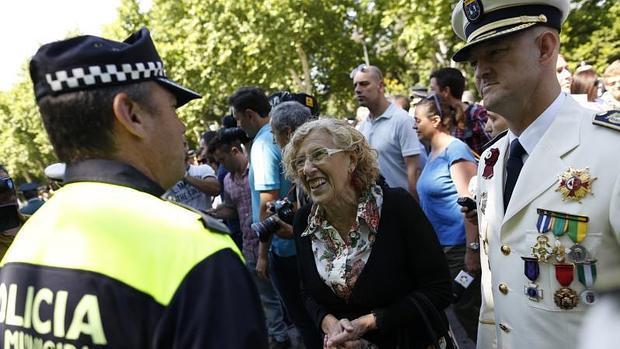Carmena en la celebración del patrón de la Policia Municipal