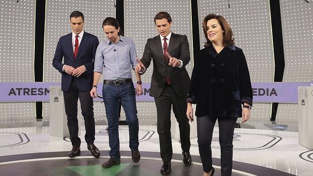 Pedro Sánchez, Pablo Iglesias, Albert Rivera y Soraya Saénz de Santamaría en la última campaña