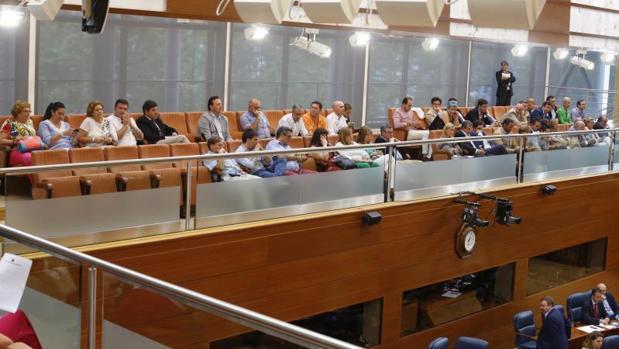 Numerosos alcaldes de la región asistieron ayer al Pleno de la Asamblea