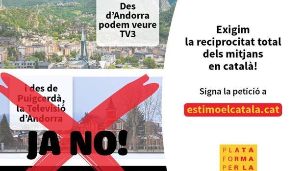 Cartel reivindicativo de la difusión mediática en catalán, utilizado por la ONG que ha denuncido este caso