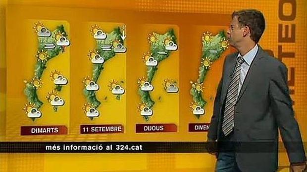 Imagen de un informativo de TV3 con el mapa de los «países catalanes»