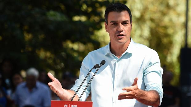 El secretario general del PSOE, Pedro Sánchez, durante un acto de campaña en Vitoria
