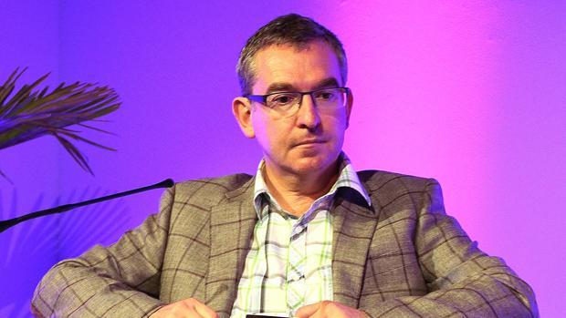 El escritor Santiago Posteguillo durante la lectura inaugural del «Hay Festival» este año