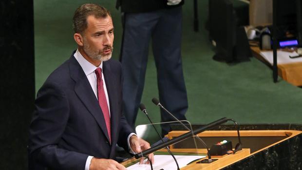 Don Felipe, durante su intervención en la Asamblea General de Naciones Unidas, el pasado mes de septiembre