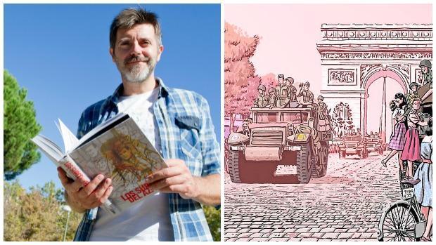 Paco Roca posa para ABC en el Jardín de los Combatienes de la Nueve; al lado, una viñeta de la obra «Los surcos del azar»