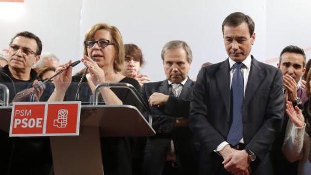 Menéndez (i), Carmona (c) y Tomás Gómez (d), el día en el que relegaron a este último