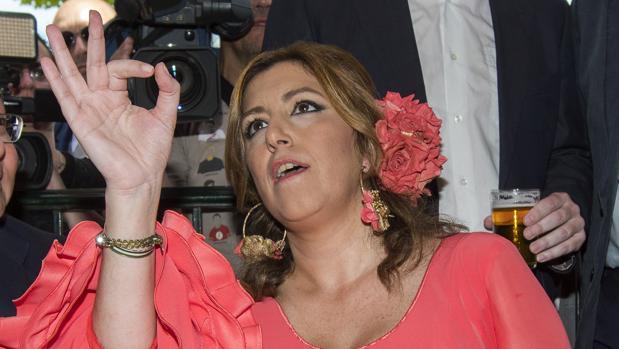 La presidenta de la Junta de Andalucía, Susana Díaz, ayer en la Feria de Abril de Sevilla