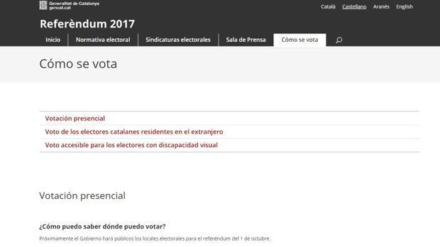 Pantalla de la anterior web del referéndum