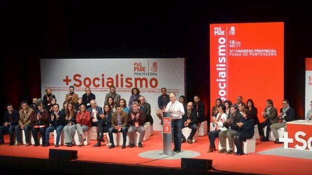 El líder de Pontevedra, David Regades, durante el congreso provincial