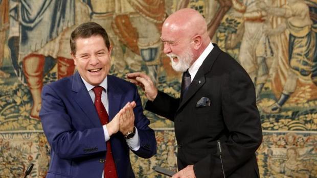 García-Page, con el coleccionista de arte Roberto Polo, el pasado 4 de julio en Toledo