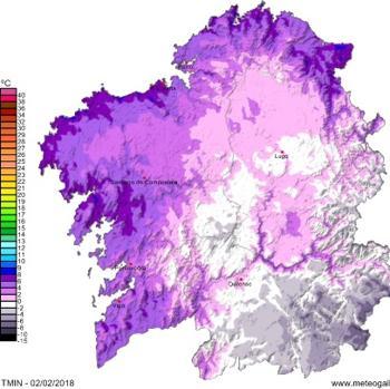 Mapa de temperaturas mínimas para este viernes