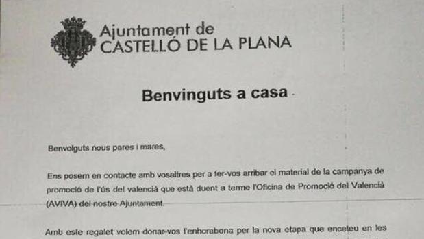Encabezamiento de la carta remitida por el Ayuntamiento de Castellón