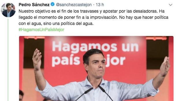 Tuit de Pedro Sánchez que ha suscitado la ira de los regantes levantinos