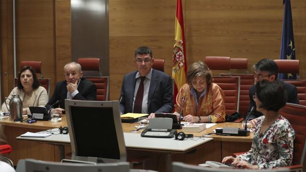 Enric Morera, durante su comparecencia en la comisión del Senado