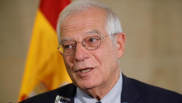 El ministro de Exteriores, Josep Borrell, este jueves en Rabat