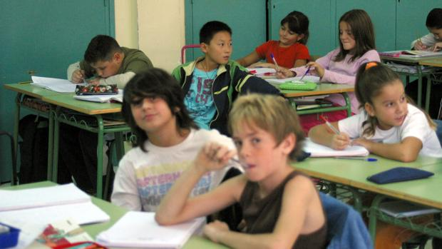Una imagen del aula de un centro educativo catalán