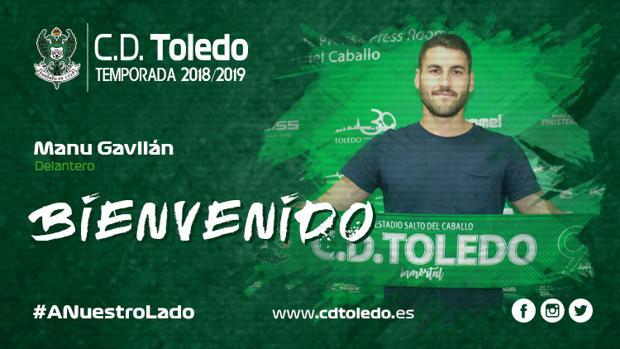 Cartel de bienvenida a Manu Gavilán, el nuevo delantero del CD Toledo