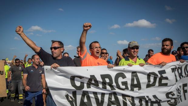 Los trabajadores de Navantia protestan después de que el Gobierno amagara con paralizar el contrato con Arabía Saudi