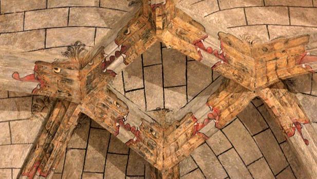 PInturas murales descubiertas en la bóveda de la parroquia de Santo Tomé