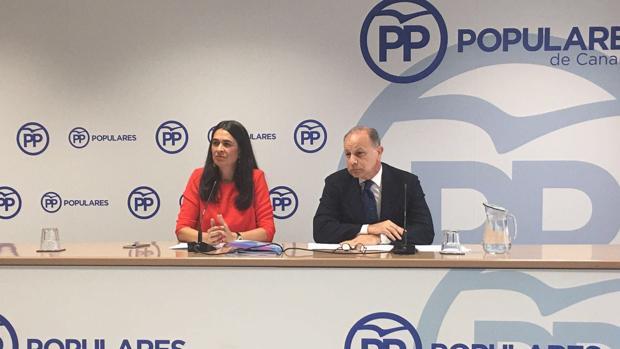 María del Carmen Hernández Bento y el jefe del programa electoral del PP canario de 2019, Jorge Rodríguez
