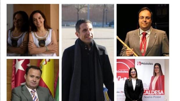En la imagen, arriba a la izquierda, Sara Hernández; abajo, Ángel Viveros; en el medio, Javier Rodríguez; arriba a la derecha, Santiago Llorente, y abajo a la derecha, Noelia Posse