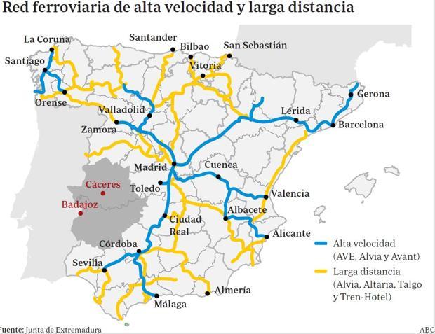 Mapa Ferroviario De España.Traviesas De Madera Y Trenes A 50 Kilometros Por Hora En La