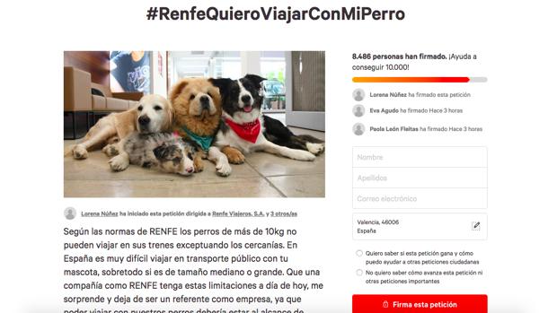 Imagen de la petición iniciada en Change.org para pedir a Renfe que permita viajar a los perros grandes en trenes de larga distancia