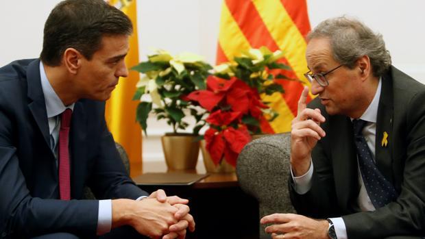 Pedro Sánchez y Quim Torra en una reunión en Barcelona
