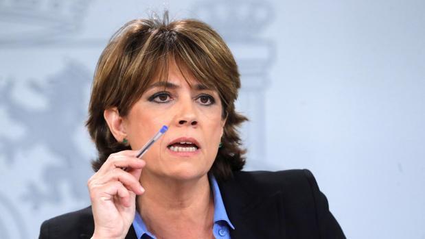 Dolores Delgado, ministra de Justicia, hoy en la rueda de prensa posterior al Consejo de Ministros