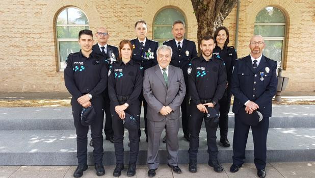 Policías Locales de Toledo con el concejal, Juan José Pérez del Pino
