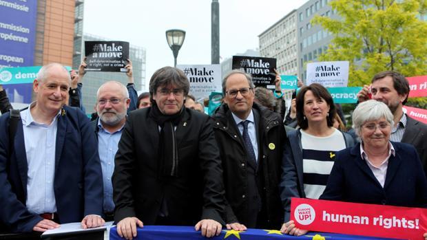 Carles Puigdemont y Quim Torra, ayer en Bruselas