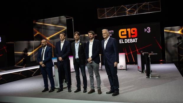 Los participantes en el debate electoral europeo de este martes en Tv3