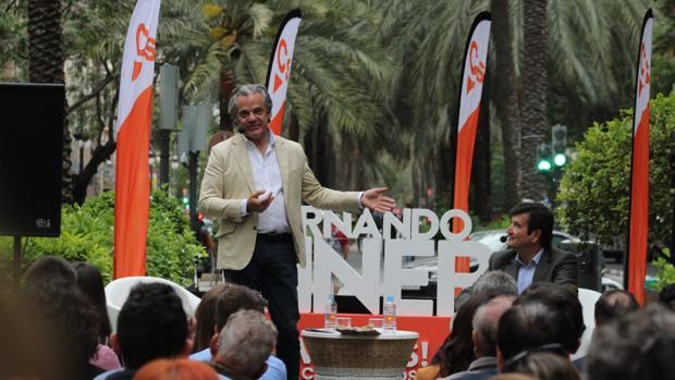 Marcos de Quinto hablando de Fernando Giner en el acto de Ciudadanos en Valencia