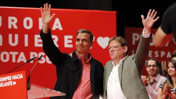 Pedro Sánchez y Ximo Puig, este sábado en Alicante