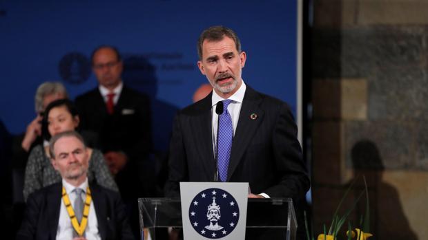 Don Felipe, durante su intervención ayer en la entrega del premio Carlomagno al secretario general de la ONU, Antonio Guterres, en Aquisgrán