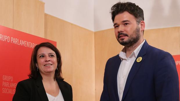 Gabriel Rufián y Adriana Lastra en el Congreso
