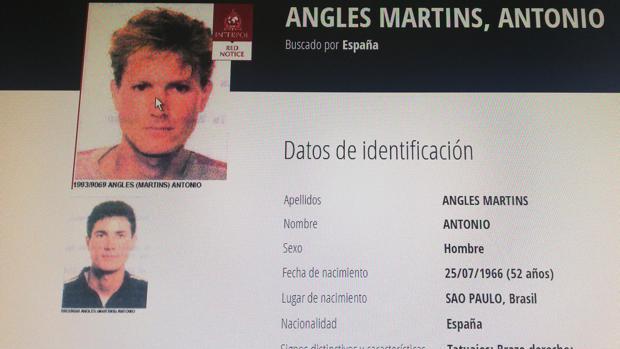 Imagen de la ficha de Antonio Anglés en Interpol