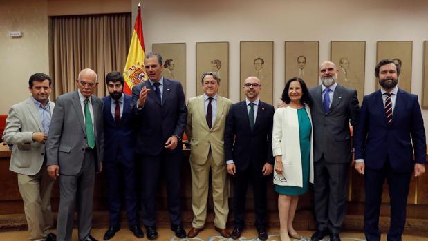 Los eurodiputados de Vox: Jorge Buxade Villalba (4d), Mazaly Aguilar (3d) y Herman Tertsch (6d), posan junto al portavoz parlamentario de Vox y su responsable de relaciones internacionales, Iván Espinosa de los Monteros (d), el concejal de Vox en el Ayuntamiento de Madrid, Javier Ortega Smith (4i)