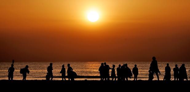 Imagen tomada este lunes en la playa de Las Arenas de Valencia