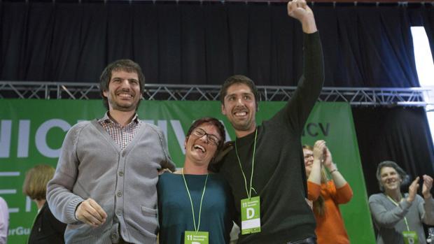 Los dirigentes de ICV Marta Ribas, David Cid y Ernest Urtasun