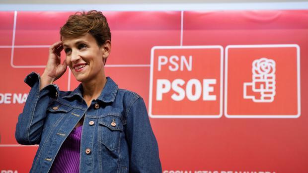 La secretaria general del PSN y candidata a presidir Navarra, María Chivite, durante un acto celebradocon motivo de las próximas fiestas de San Fermín