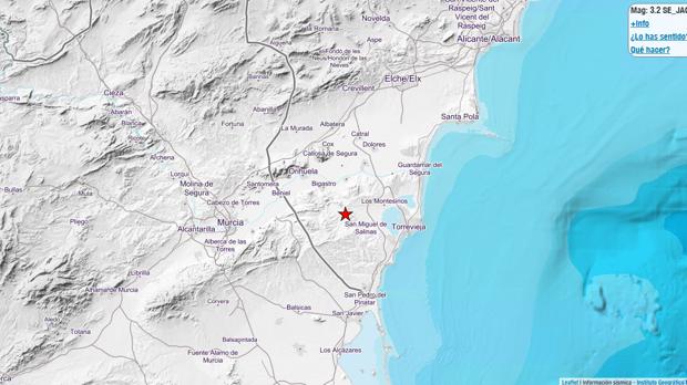 Imagen del centro del terremoto en Jacarilla