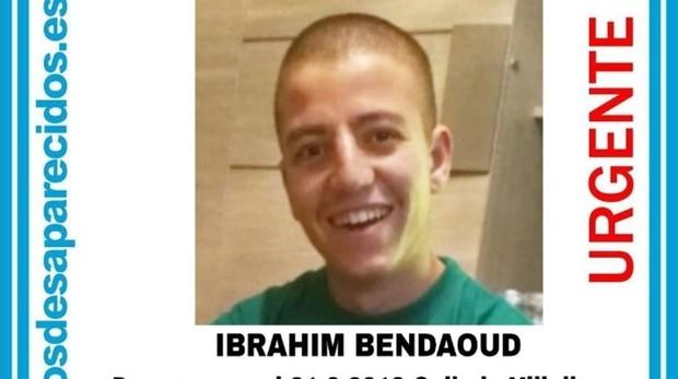 Cartel de Ibrahim Bedaoud, el joven desaparecido en Collado Villalba