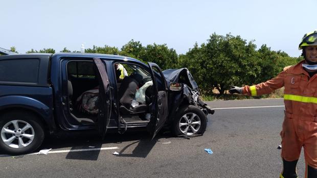 Imagen tras el accidente de tráfico en Oliva