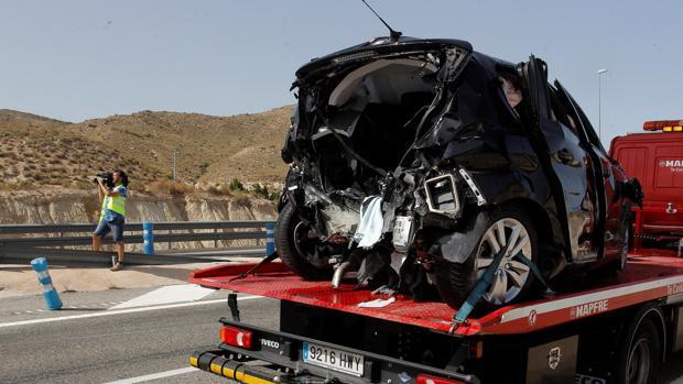 Imagen del lugar del accidente en la AP7 este domingo en Alicante