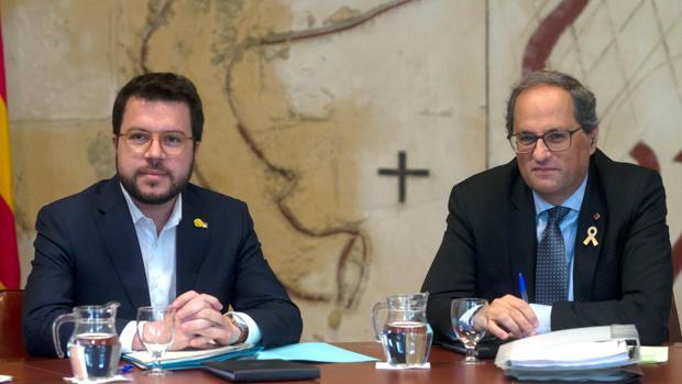 Quim Torra y Pere Aragonès en una reunión el gobierno catalán