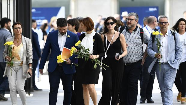 El grupo parlamentario de ERC llega al Congreso con flores amarillas